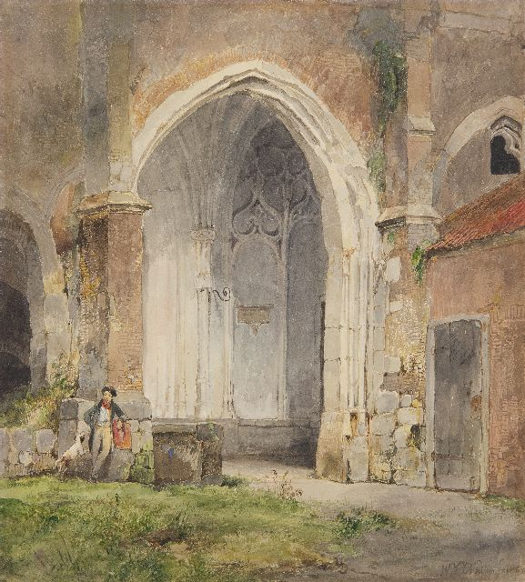 Wijnand Nuijen | Man and his dog in the cloister of the Dom of Utrecht, watercolour on paper, 26.5 x 23.6 cm, signed l.r. and dated 1833