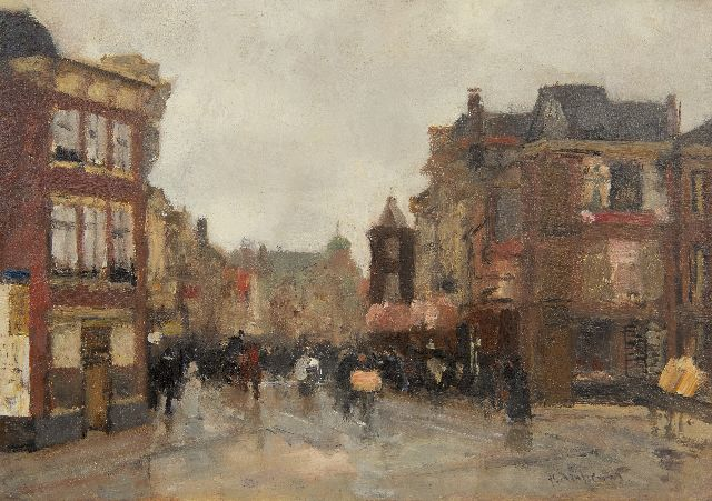 Floris Arntzenius | A view of the Wagenstraat, The Hague, oil on panel, 20.6 x 29.0 cm, signed l.r.
