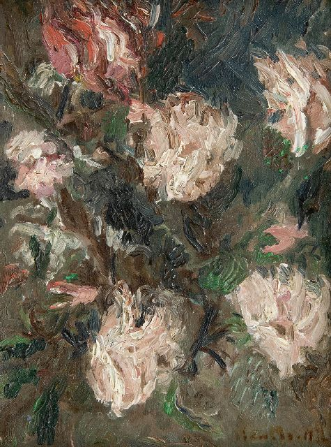 Adolphe Monticelli | Roses, oil on canvas, 21.3 x 16.1 cm, signed l.r.