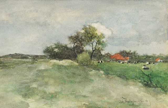 Jan Hendrik Weissenbruch | Meadow behind the dunes, watercolour on paper, 23.5 x 36.3 cm, signed l.r. and ca 1879
