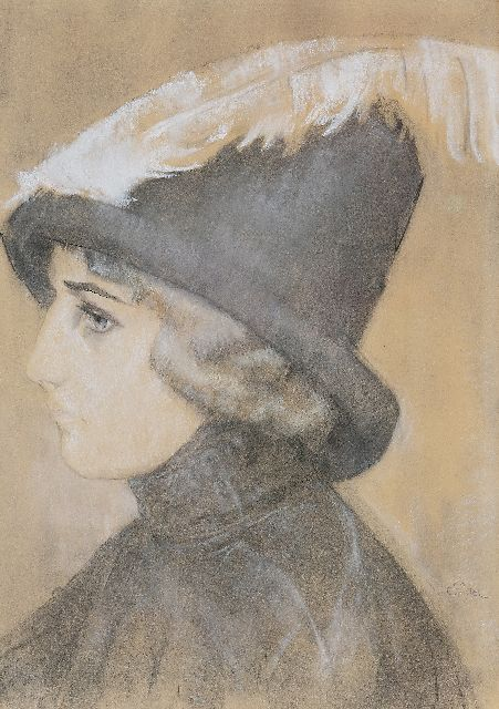 Leo Gestel | Portrait of a lady with a hat, chalk on paper, 47.0 x 33.5 cm, signed l.r. and painted ca. 1910-1911