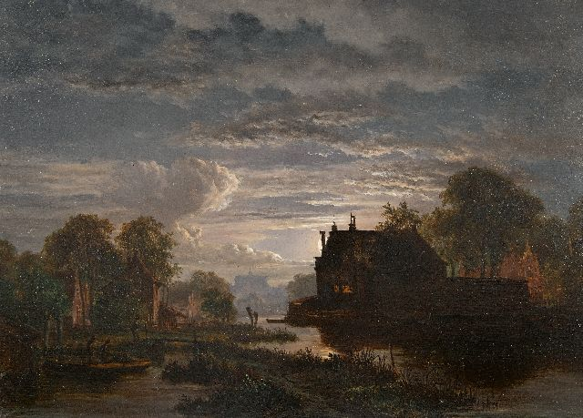 Jacobus Theodorus Abels | Moonlit river landscape at a city, oil on panel, 28.8 x 39.1 cm