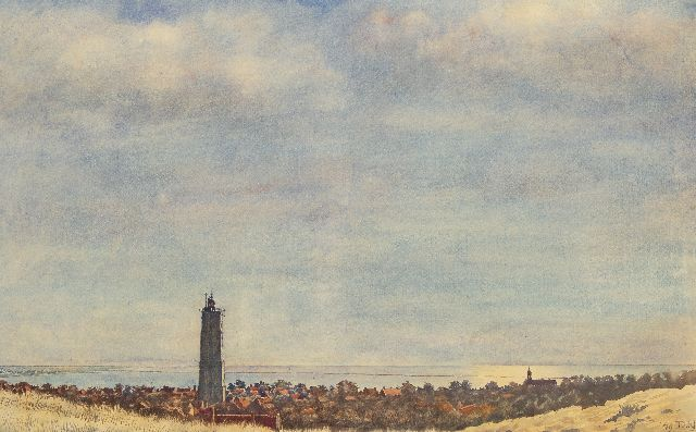 Nijland D.H.  | A view of the Brandaris, Terschelling, watercolour on paper 57.4 x 92.6 cm, signed l.r. with initials and dated '49