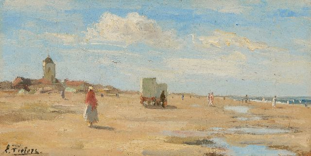 Evert Pieters | Sunny day on the beach of Katwijk, oil on panel, 13.4 x 26.2 cm, signed l.l.
