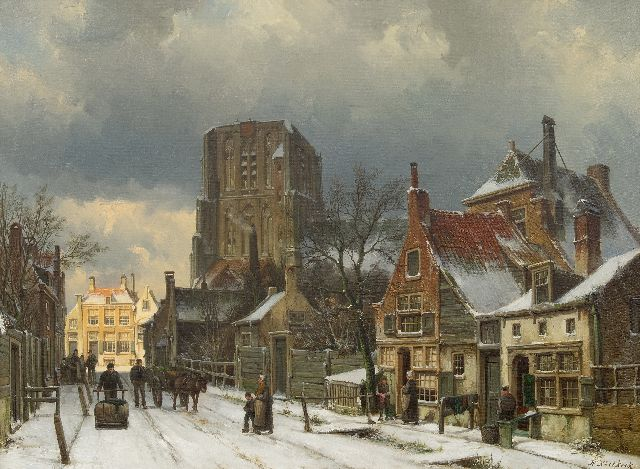 Willem Koekkoek | Fantasy view of the snowy Sint-Martinus church in Woudrichem, oil on canvas, 55.2 x 75.3 cm, signed l.r.