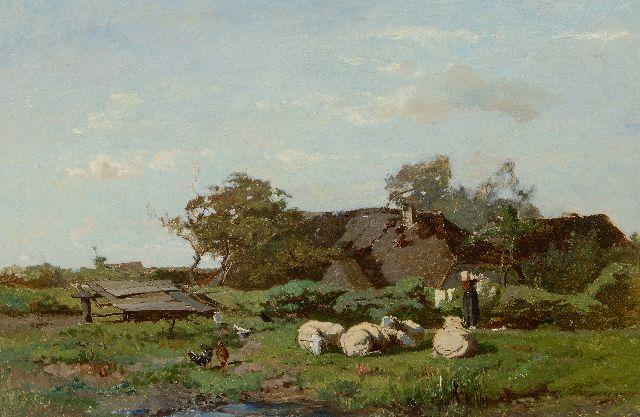 Gerard Bilders | Washing day at the farm, oil on canvas, 50.0 x 75.3 cm, signed l.r.