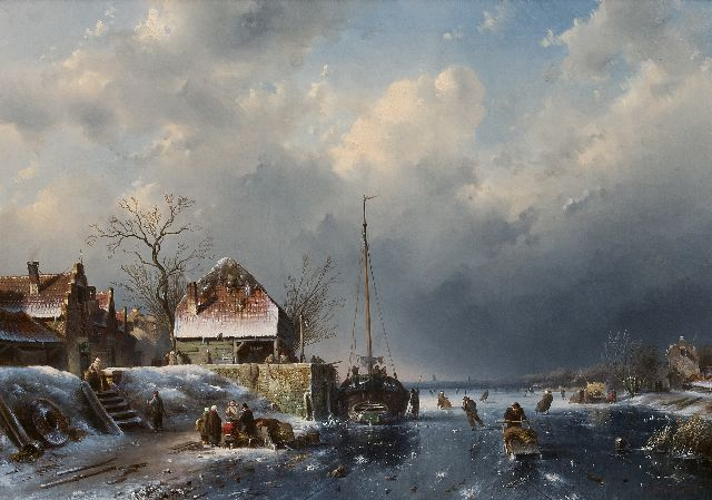 Leickert C.H.J.  | A winter scene with skaters and a fishing ship stuck in the ice, oil on canvas, 60.4 x 84.8 cm, signed l.r. and dated '56