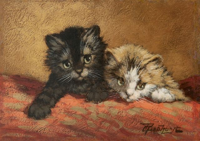 Cornelis Raaphorst | Two kittens, oil on panel, 12.9 x 18.2 cm, signed l.r.
