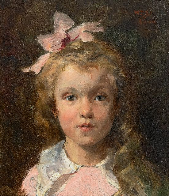Willem Steelink jr. | Portrait of Johanna Wijtman, granddaughter of the artist, oil on panel, 15.4 x 13.2 cm, signed u.r. with initials