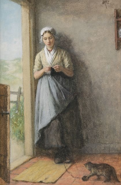 David Artz | Fisher girl knitting in the doorway, watercolour on paper, 53.8 x 36.0 cm, signed u.r. and painted ca. 1881