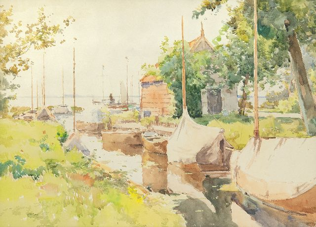 Cornelis Vreedenburgh | Harbour on the Loosdrechtse Plassen, watercolour on paper, 43.8 x 59.0 cm