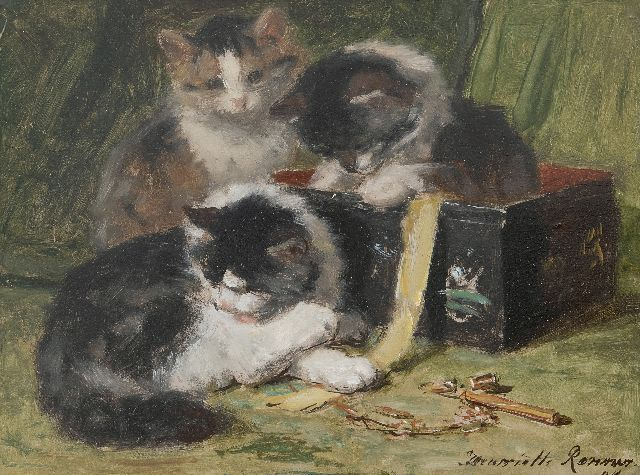Henriette Ronner-Knip | Kittens playing with a sweing box, oil on panel, 25.0 x 33.5 cm, signed l.r. and dated '94