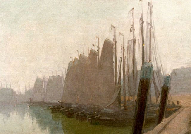 Co Breman | Moored sailing vessels, oil on canvas, 29.7 x 38.0 cm, signed l.r. with initials