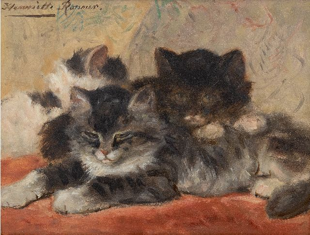 Henriette Ronner-Knip | Dozing kittens, oil on panel, 19.0 x 24.5 cm, signed u.l.