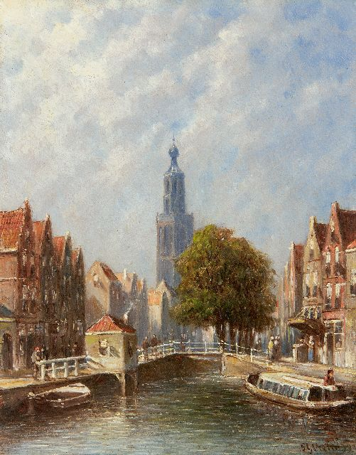 Petrus Gerardus Vertin | A town view with the tower of the Sint-Janskerk of Gouda, oil on panel, 20.2 x 16.0 cm, signed l.r. and dated '93