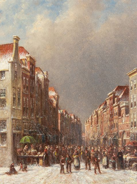 Petrus Gerardus Vertin | Market on a winter day, oil on panel, 36.1 x 27.5 cm, signed l.r. and dated '91