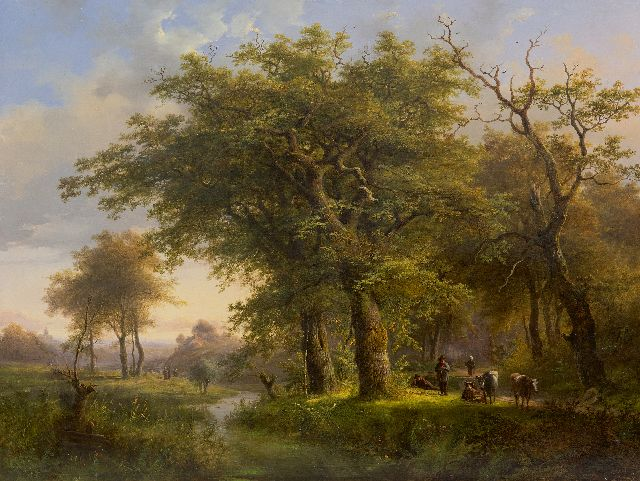 Johann Bernard Klombeck | Forest landscape with cattle and country folk, oil on panel, 47.6 x 62.5 cm, signed l.l. and dated 1857
