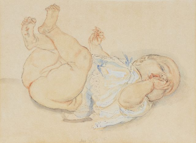 Jan Sluijters | Baby, sucking on a thumb, pencil, coloured pencil, watercolour and gouache on paper, 34.3 x 46.3 cm, signed l.c.