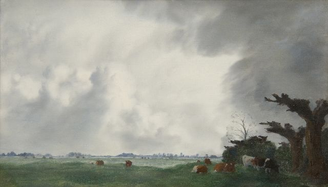 Jan Voerman sr. | Cows in a meadow on the IJssel, oil on panel, 30.9 x 52.0 cm, signed l.r.