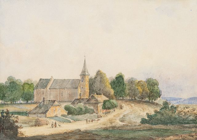 Andreas Schelfhout | Church in a hilly landscape, watercolour on paper laid down on board, 14.5 x 20.1 cm, signed l.r.