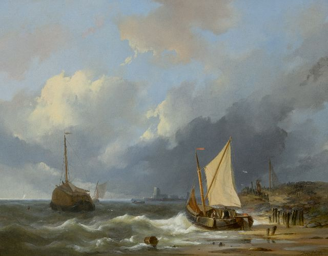 Dreibholtz C.L.W.  | Ships on the Zuiderzee, oil on panel 41.2 x 52.8 cm, signed l.r.
