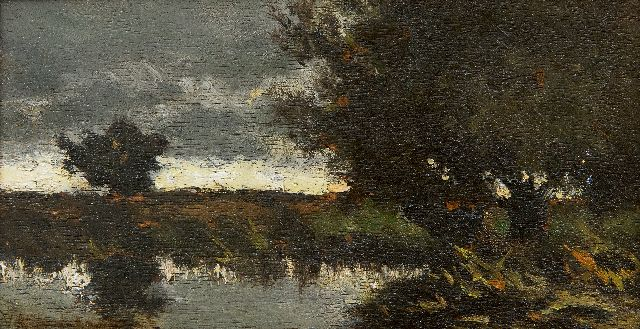 Jan Hendrik Weissenbruch | A polder landschape, oil on panel, 9.8 x 18.5 cm, signed l.l.