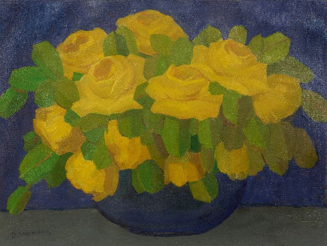 Dirk Smorenberg | Yellow roses in a blue vase, oil on board, 55.0 x 72.7 cm, signed l.l.