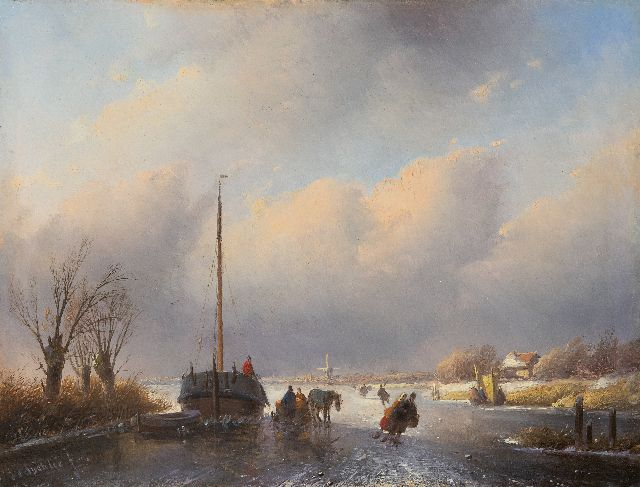 Jan Jacob Spohler | A frozen river with skaters and a horse drawn sledge, oil on panel, 25.5 x 33.4 cm, signed l.l.