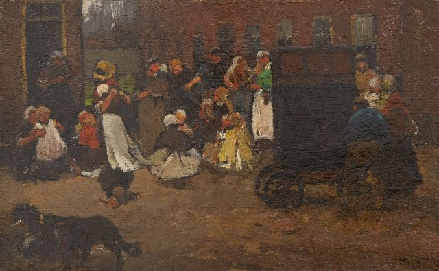 Willem de Zwart | Children dancing to the street musician, oil on panel, 22.2 x 35.6 cm, signed l.r. and painted ca. 1890
