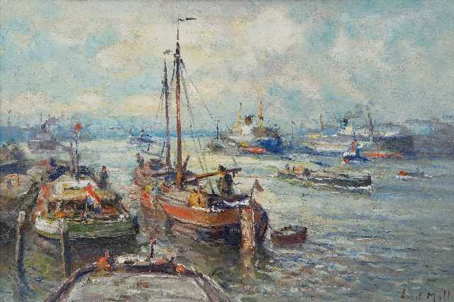 Evert Moll | Ship traffic at Rotterdam's harbour, oil on canvas, 40.4 x 60.0 cm, signed l.r.