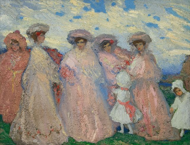 Alfredo Ramos Martinez | Ladies in a landscape, oil on panel, 41.5 x 52.5 cm, signed l.l. and to be dated ca. 1905