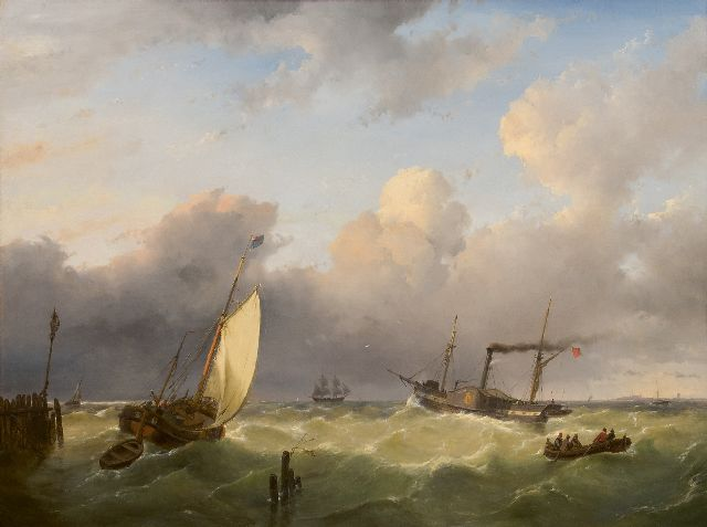 Schelfhout A.  | Sailing vessels and a steamer on open water, oil on panel 67.6 x 90.6 cm, signed l.l. and dated 1845