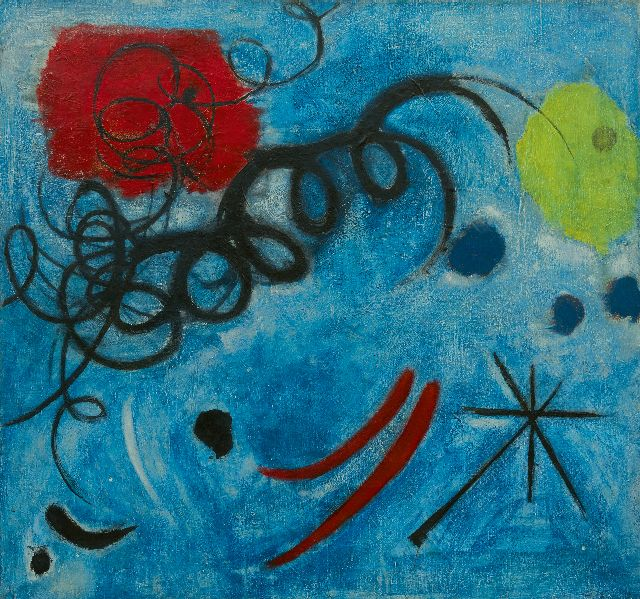 Theo Wolvecamp | Compostion in Blue, oil on canvas, 74.4 x 79.7 cm, signed on the reverse and painted ca. 1949