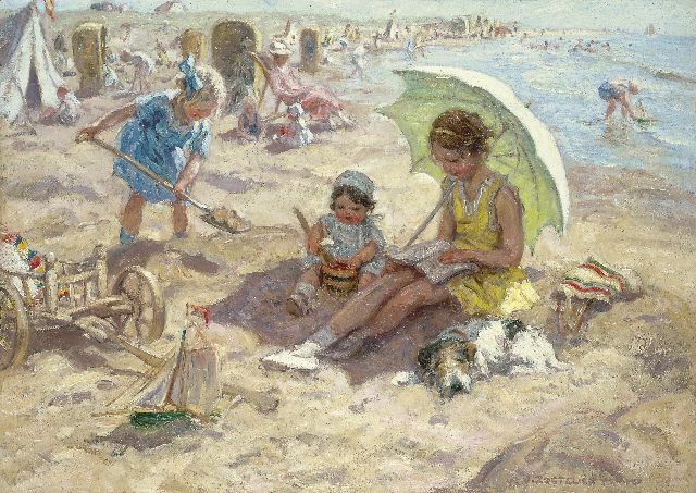 Jan Zoetelief Tromp | Children playing on the beach of Katwijk, oil on canvas, 68.3 x 95.9 cm, signed l.r. and on the reverse
