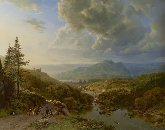 Barend Cornelis Koekkoek | Figures and cows in a mountainous landscape, oil on canvas, 101.0 x 128.8 cm, signed l.l. 'B.C. Koekkoek' in full and 'PG v O' in mon. and painted ca. 1832