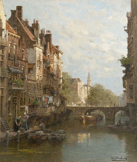 Karel Klinkenberg | City canal in the summer, oil on canvas, 46.9 x 39.2 cm, signed l.r.