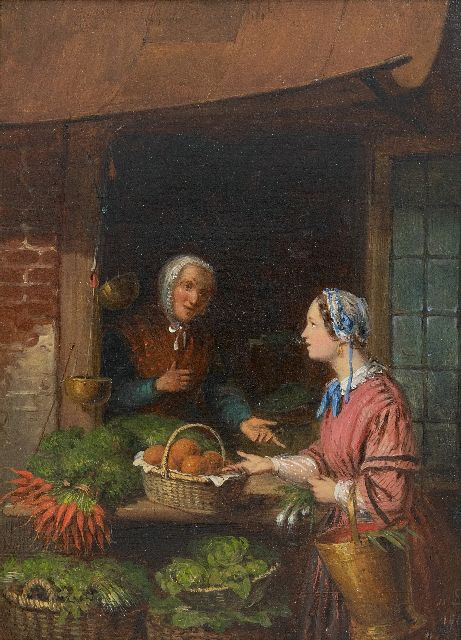 Andries Scheerboom | Chatting with the vegetable seller, oil on panel, 20.3 x 15.1 cm, signed l.r. with initials and dated 1861