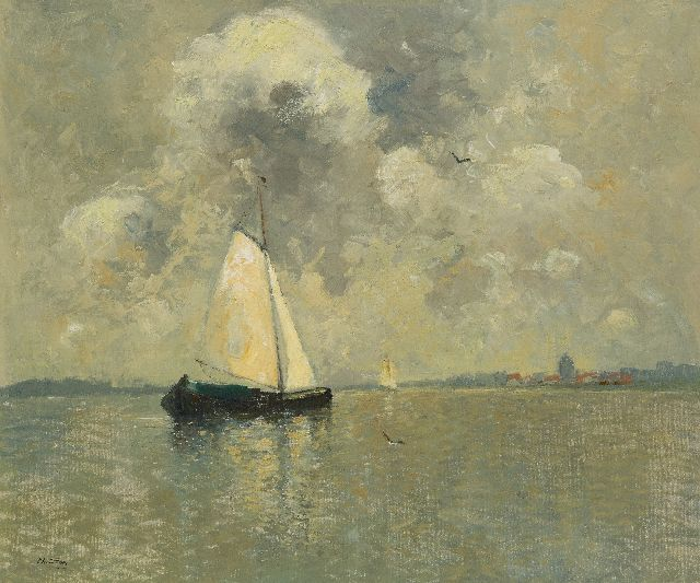 Chris Soer | Sailing barge  on a river, oil on canvas laid down on panel, 62.5 x 74.9 cm, signed l.l.