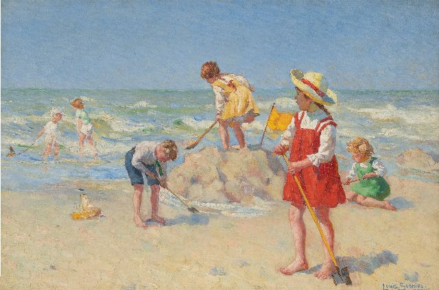 Louis Soonius | Playtime on the beach, oil on canvas, 40.2 x 59.8 cm, signed l.r. and dated 1917