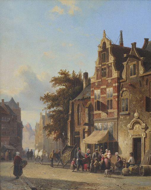 Eversen A.  | A street scene with musician, oil on panel 49.5 x 40.4 cm, signed l.r. and painted ca. 1848-1850
