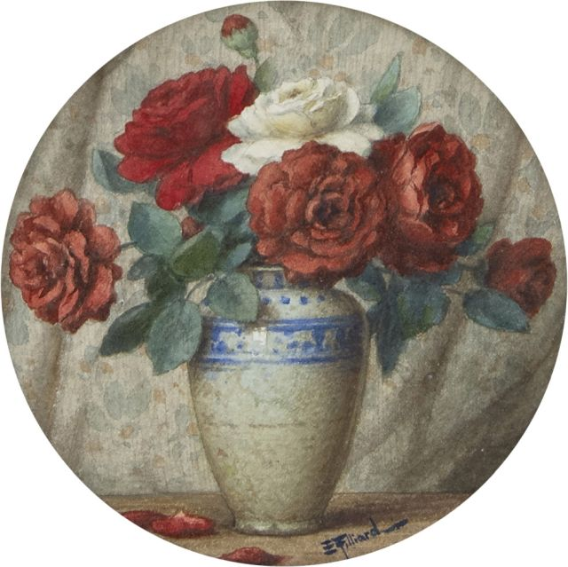 Ernest Filliard | A still life with roses, watercolour on paper, 14.2 x 14.2 cm, signed l.r.