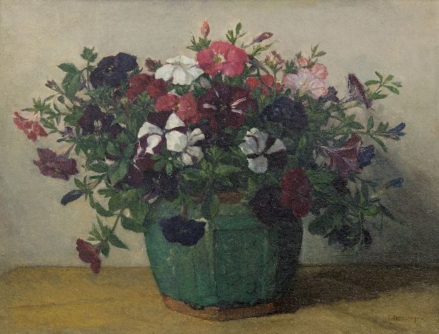Johannes Evert Hendrik Akkeringa | Petunias, oil on canvas, 33.8 x 44.0 cm, signed l.r.