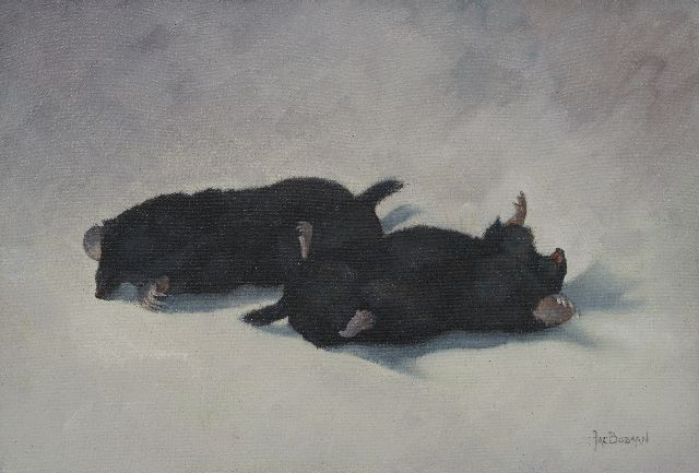 Johan Jacob Bodaan | Two moles, oil on canvas, 25.0 x 37.0 cm, signed l.r.