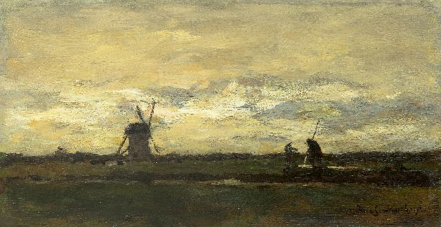 Johan Hendrik Weissenbruch | Landscape with stippling farmer and windmill, oil on panel, 16.2 x 31.2 cm, signed l.r. and dated 1901