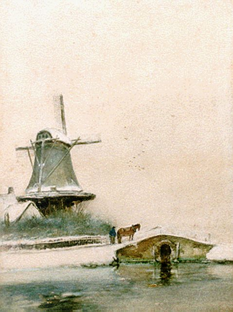 Louis Apol | A windmill in a snow-covered landscape, watercolour on paper, 36.1 x 27.1 cm, signed l.l.
