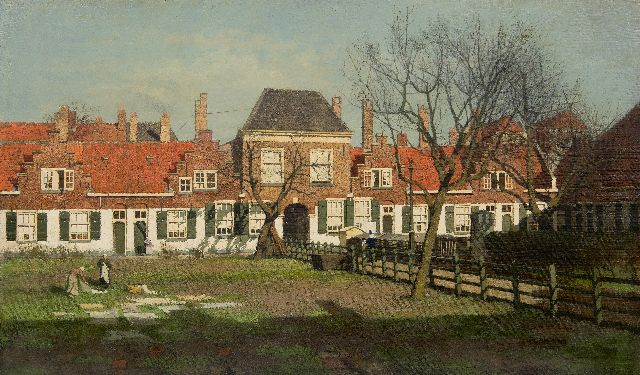 Karel Klinkenberg | The Heilige Geesthofje, The Hague, oil on canvas, 60.6 x 100.7 cm, signed l.r. (twice)