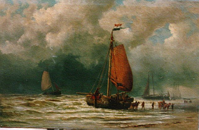George Lourens Kiers | Unloading the catch, oil on canvas, 63.5 x 95.5 cm, signed l.l.