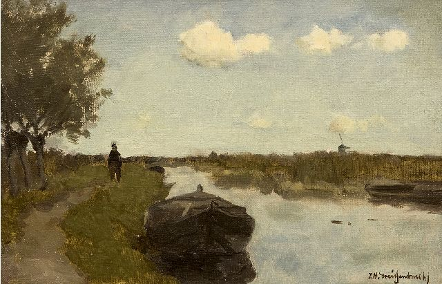 Jan Hendrik Weissenbruch | Along the towpath, oil on canvas laid down on panel, 21.0 x 31.0 cm, signed l.r.