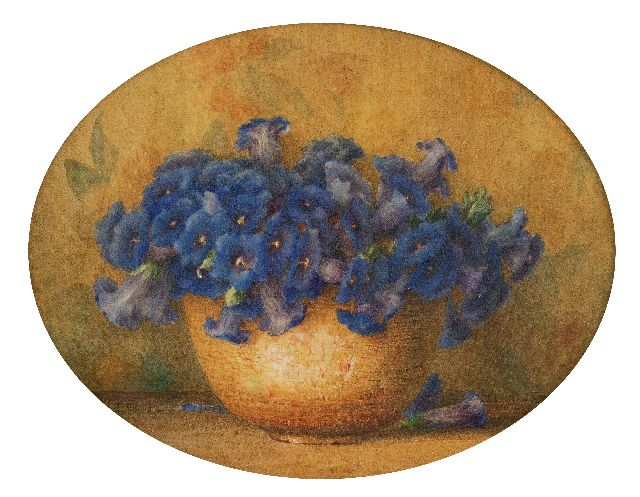 Ernest Filliard | Petunias in a pot, watercolour on paper, 27.5 x 35.5 cm, signed l.l.