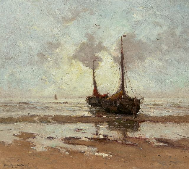 Morgenstjerne Munthe | Fisching barges at anchor on the beach, oil on canvas, 57.0 x 65.0 cm, signed l.l. and dated 1914
